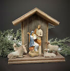 Vintage Barn Wood Handcrafted Creche For Willow Tree Holy Family Nativity Set