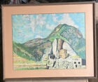 RARE Original Native American Framed Abstract Art Cliff Dwellings Signed TSEE