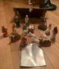 Vintage Mid Century Nativity Plaster Chalk Ware Set and Creche Figures