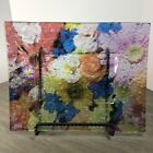 Beautiful Art Glass Plate Tray Multi Colored Rectangle Abstract Floral