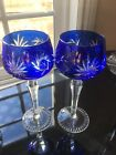 AJKA CUT TO CLEAR COBALT BLUE WINE WATER GOBLET SET OF 2
