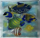 PEGGY KARR Fused Art Glass Tropical Reef Fish Platter Tray Coral Sea SIGNED