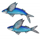 Liffy Metal Flying Fish Wall Art Outdoor Nautical Decor Ocean Hanging Glass for