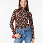 NWT J Crew Womens Small Tissue Turtleneck in Poppy Fields Floral Blue Red Top