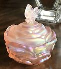 Fenton Glass Rose Butterfly Pink Iridescent Candy Dish Bowl Jewelry Box Signed