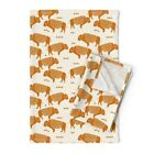 Cream Buffalo Crib Nursery Native Linen Cotton Tea Towels by Roostery Set of 2