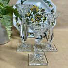 Classic Glass Candlesticks Set of 3 Crystal Candle Holder
