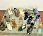 Vintage Shoe and Boot Collection of Mens Ceramic Glass Metal  Wood Lot
