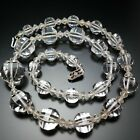 Vintage Art Deco Rock Crystal Necklace 14K White Gold Filled Estate Jewelry