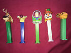 5 Vintage Pez Dispensers - Sid, Elliot, Simba, Buzz Lightyear, and a snowman