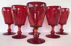 Vintage Ruby Red Glass Water Goblets 6 Paden City Popeye  Olive