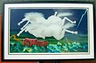 Original Art Print Mounted Under Glass Flying Horses 39 x 25 Signed by U
