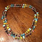Vintage Multi colored Glass Bead Drops Dangle Necklace