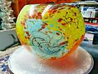 STUDIO Art Glass OIL SPOT BOWL Vase HAND CRAFTED Beautiful Colors GORGEOUS