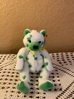 Ty Beanie Babies CLOVER Bear White Green Clovers St. Patrick's Day Luck