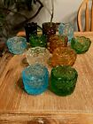 EAPG COLORED GLASS VINTAGE OPEN SALT CELLAR DISH SET of 11