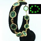 Uranium Glass Tennis Bracelet Green Faceted Gold Tone