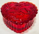 Heart Trinket Box Red Glass w Hummingbirds Mosser USA