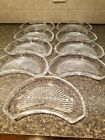 Val St Lambert Crystal STATE PLAIN Crescent Side Salad Plates Dishes Set of 9