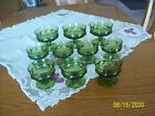 Indiana Glass King Crown Thumb Print Smoked Green Footed Champagne Sherbet 10