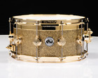 DW Collectors Series Gold Top Edge Snare 8x14 Gold Glass Gold HW