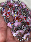 Vintage Millefiori Pink Swirl Murano Oval Bead Glass Necklace Flapper Length 35
