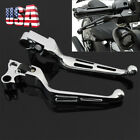 Chrome Wide Brake Lever Set Slotted Clutch Levers For Harley Dyna Softail 96 14