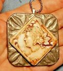 Antique Uranium Cameo Glass Roses in Hair Cameo on Neck Set On Point Tin Buckle