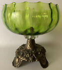 vintage green glass candy dish scalloped rim with brass pedestal LL 1970