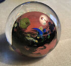 Early Josh Simpson Glass Paperweight Signed 3 Inhabited Planet 1989 Unusual Red
