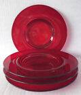 Vintage Ruby Red Glass Salad Plates 8 Footed Set Of 4 Depression Era