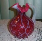 FENTON HB GLASS CRANBERRY OPALESCENT DAISY  FERN PITCHER EXCELLENT