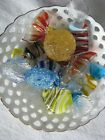 8 Vintage Murano Glass Candy Pieces in M J Hummel Dish