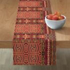 Table Runner Kilim Squares Native Aztec Ikat Tribal Geometric Cotton Sateen