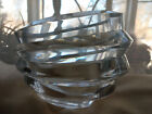 Orrefors Slanted Stacked Glass Rings Mini Vase Candle Holder Sweden Crystal Art