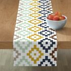 Table Runner Tribal Geometric Boho Southwest Native American Blue Cotton Sateen