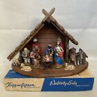 Kripperfiguen Vintage German Nativity Set 13 Pieces + Wooden Stable West Germany