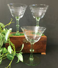 VTG Uranium Green Paneled Floral Etched Wine Glass 525 Set of 3 UV Glow 1930s