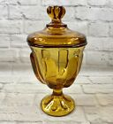 Viking Glass Covered Candy Dish Amber Pedestal Vintage 6 Pedal Lid 8 Tall