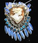 Vintage Carved Heart Shell Cameo Silver Tone Rhinestone Opal Glass Necklace OOAK