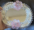 Murano Venetian Art Glass Petite Vanity Mirror Pink Flowers on wooden stand