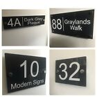 MODERN HOUSE SIGN PLAQUE DOOR NUMBER STREET GLASS EFFECT ACRYLIC NAME GREY SIGN