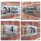 MODERN HOUSE SIGN PLAQUE DOOR NUMBER STREET GLASS EFFECT ACRYLIC HOUSE NAME 4014