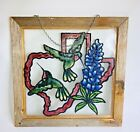 Vintage Window Stained Glass Style Wood Framed Hummingbird Birds 15X15 Texas