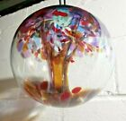 Huge 10 inch Kitras Art Glass Globe Orb Hanging Ball TREE OF COURAGE
