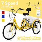 20 24 26 7Speed Adult Tricycle 3 Wheel Trike Cruiser Bike w Basket for Shopping
