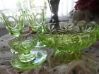 4 Antique French Baccarat uranium glasses crystal goblets and bowls