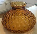 Large Amber glass hurricane lamp shade quilted pattern 10 fitter