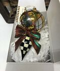 MACKENZIE CHILDS Argyle Check Glass Drop Ornament Store Displayed Listing F