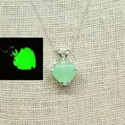 Sterling Uranium Glass Heart Necklace 925 Silver Vintage Czech